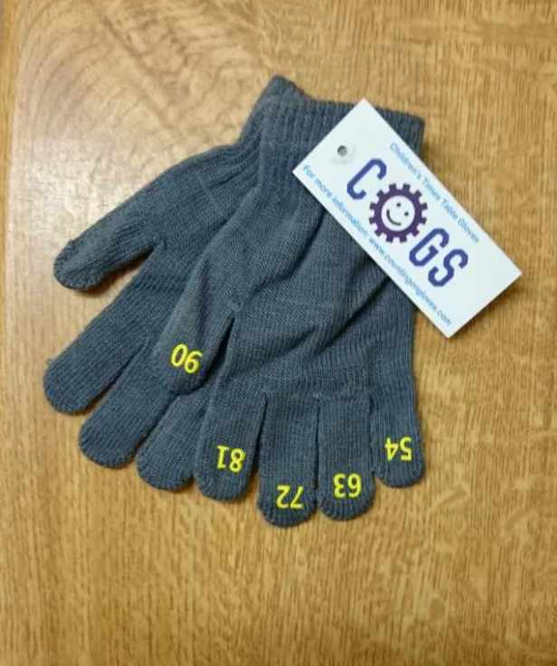 Image of pair of grey COGs gloves with different yellow numbers on each fingertip and white card label stating COGS