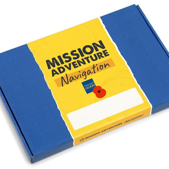 Mission Adventure pack blue and yellow delivery box with Royal British Legion popy design
