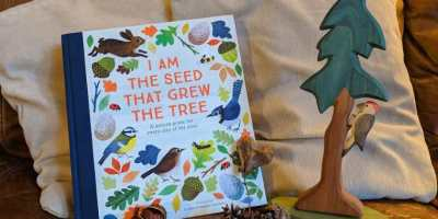 Image of book titled I am The Seed That Grew The Tree next to wooden tree figurine, pine cones, an acorn and heart-shaped leaf