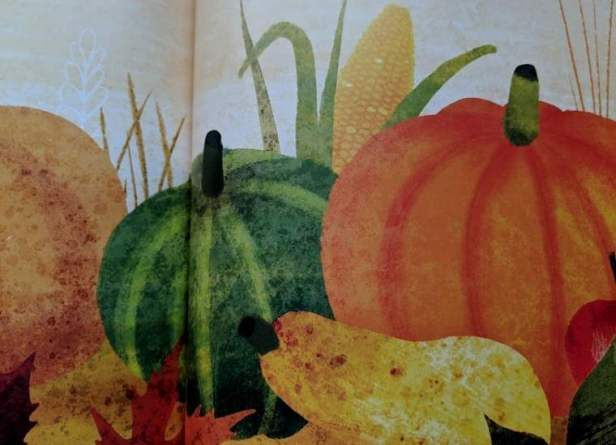 Image of double page spread from poetry book with illustrations of pumpkins and squash