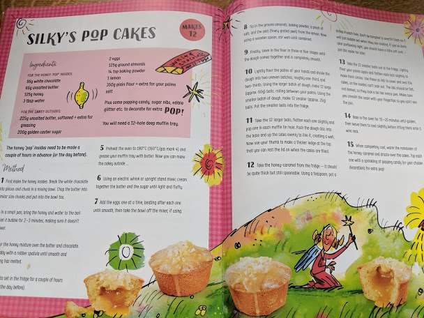 Image of double page spread of illustrated book showing recipe for Silky's Pop Cakes