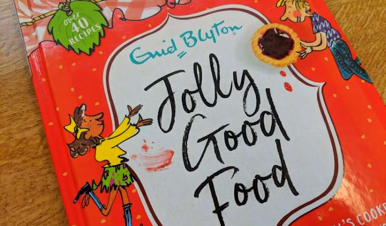 Image of red hardback book cover titled Enid Blyton Jolly Good Food