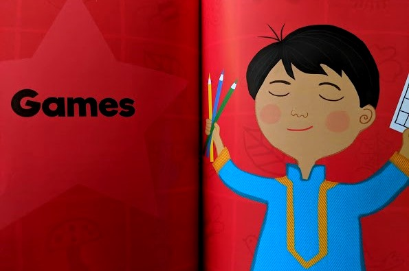 Image of double page spread of 100 outdoor activities book showing section header illustration for games with red background and boy
