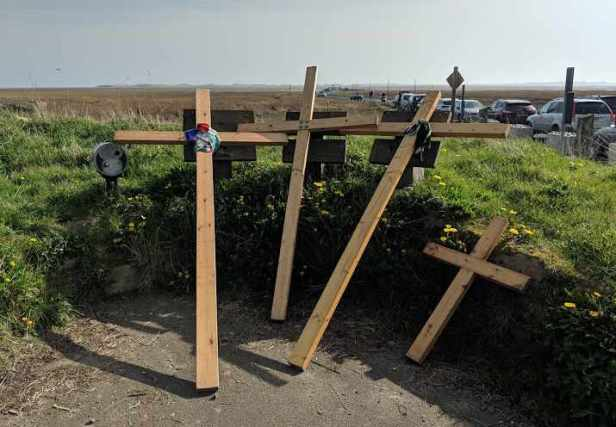 Image of 4 wooden crucifixion crosses leaning on grass bank with mud flats towards Holy Island and cars in background