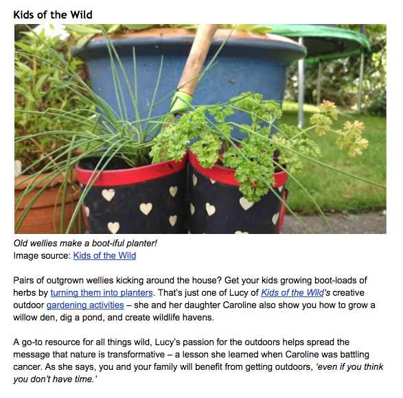 Image of pair of colourful wellies with chives growing in them and lots of writing underneath about gardening activities on Kids of the Wild website