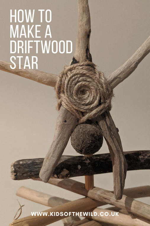 Image of 5 fingered star made of driftwood & string with the text how to make a driftwood star
