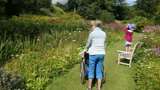 Image of woman pushing man in wheelchair in garden border with girl looking through binoculars