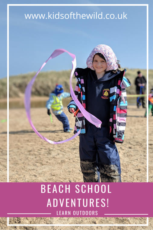 Child waving ribbon on beach with words Beach School Adventures Learn Outdoors in banner