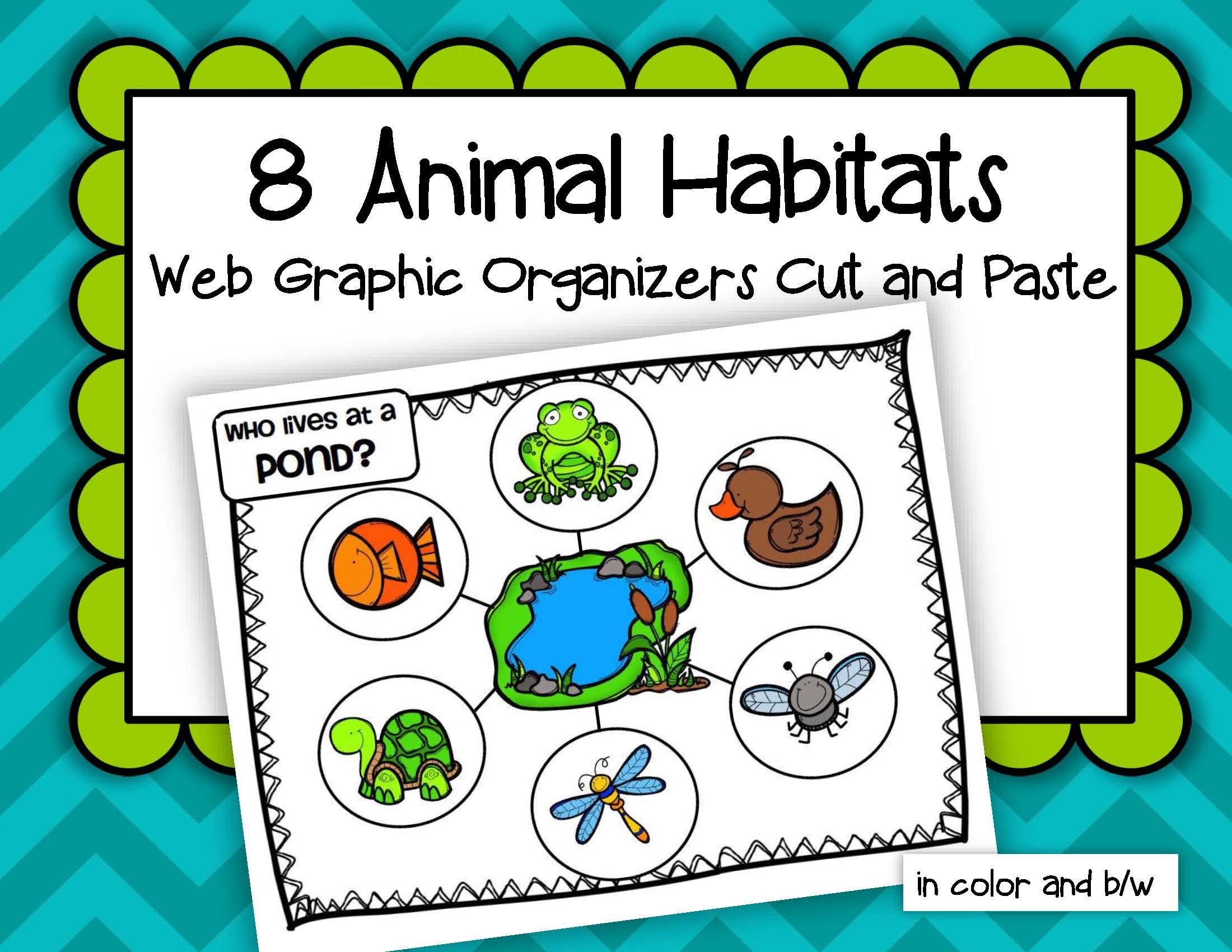 Animals Habitats Web Graphic Organizers Cut And Paste