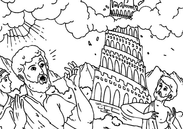 scared people in daylight in tower of babel coloring page