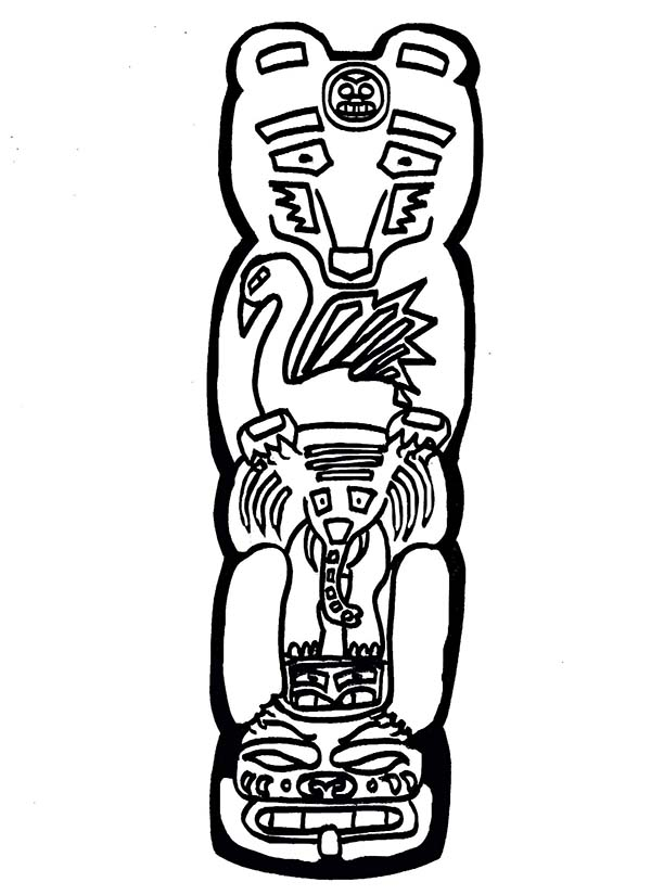 totem poles animal coloring page  kids play color