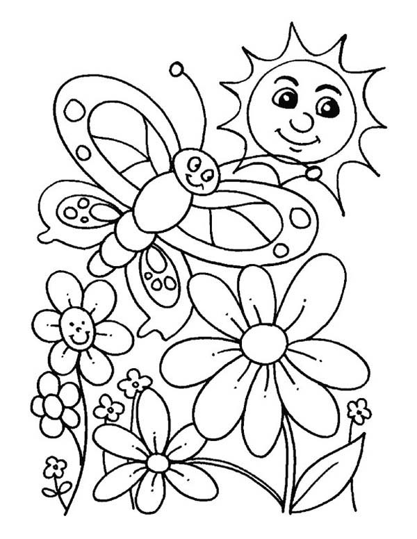 Everybody Is Happy When Spring Is Here Coloring Page ... | free printable spring coloring pages