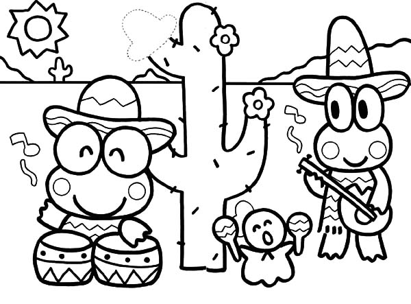 Kero Kero Keroppi In Mexico Coloring Pages Kids Play Color