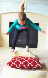 jumping over pillow