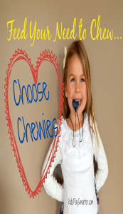Find out how to feed your child's need to chew in a healthy way by using chewies! Chewies are oral fidgets that can alleviate anxiety and nervous energy. Great for kids with sensory issues, ADHD, autism, anxiety, and PTSD.
