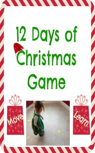 Incorporate movement, exercise, learning, and fun into this 12 Days of Christmas Game that goes along with the 12 Days of Christmas song. Try it with your kids!