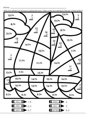 3 Digit Subtraction With Regrouping Coloring Sheet Sketch