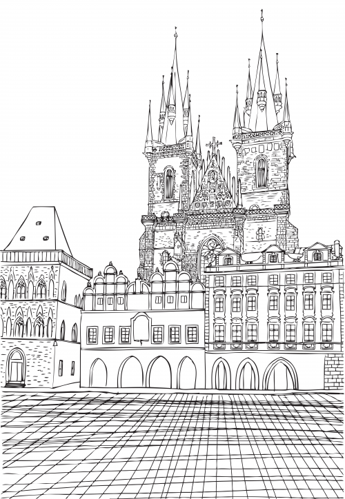 Munich Town Hall Coloring Page