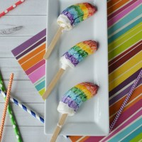 Rainbow Banana Popsicles