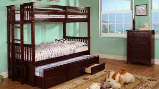 """Dingwall Devyn"" Twin over Twin Bunk Bed with Trundle – Espresso and Oak"