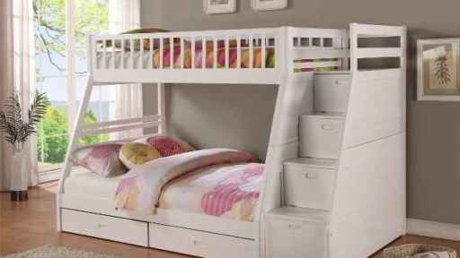 """The Emma Noah"" Twin Full Bunk Bed with Staircase Storage and Drawers – 2 Colors"