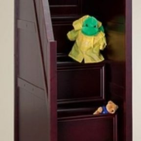 Student Twin Loft Bed with Storage- walnut staircase-kidsroom.vip