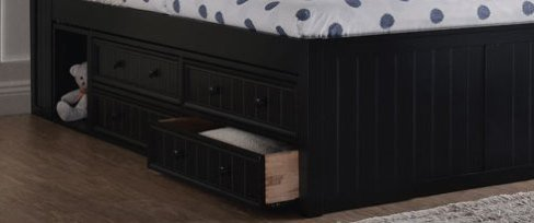 Espresso Full Size Captains Bed with Storage Drawers- kidsroom.vip