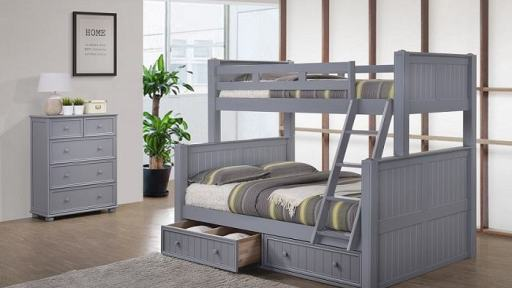 Angel Twin Full Bunk Bed with Storage - kidsroom.vip