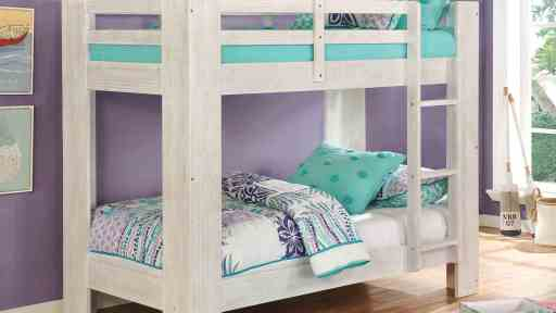 """""""Cool Kids"""" Modern Twin over Twin Bunk Bed with Ladder"""
