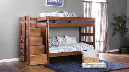 """Kensington Tractor"" Farmhouse Twin over Twin Bunk Bed with Staircase Storage – LOW INVENTORY!"
