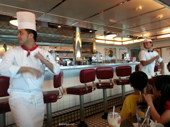 Waiters dancing at Johnny Rockets