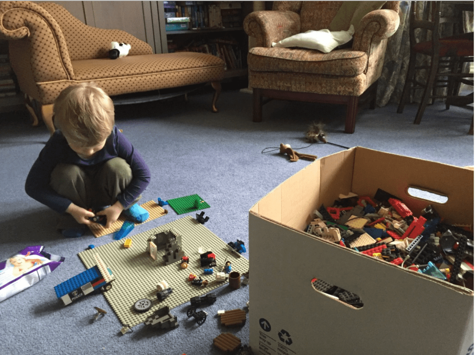 Unsorted box of Lego
