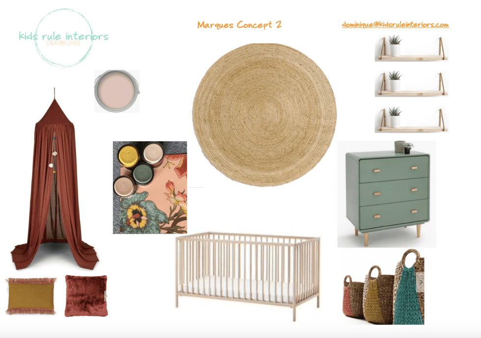 Blush pink, rust and mustard rustic earthy baby girl nursery concept