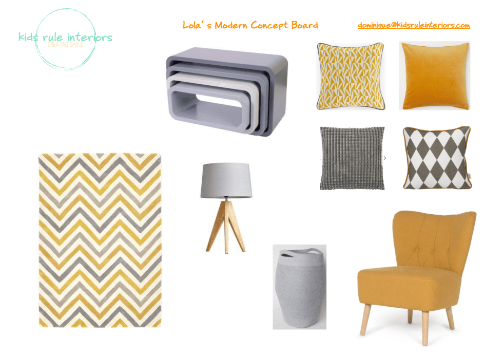 Modern mid century mustard and grey concept board