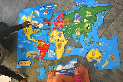 Connect All Schools World Map Puzzle- Kid World Citizen