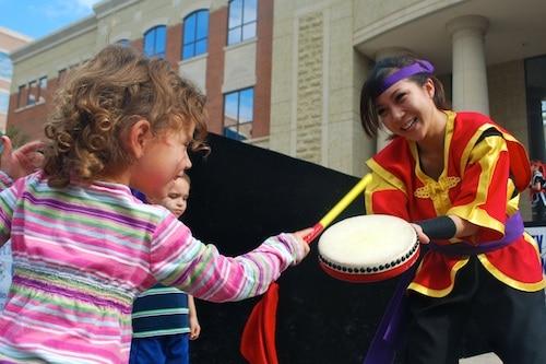 Japanese Taiko Drumming Demonstration with Kids- Kid World Citizen