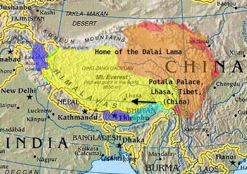 Home of the Dalai Lama on Tibet Map- Kid World Citizen