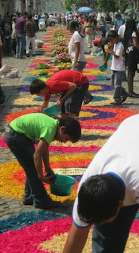Working on Alfombras in Antigua Guatemala- Kid World Citizen