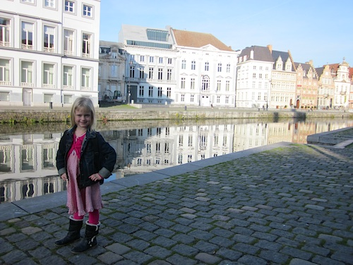 My daughter on a sunny day in Ghent- Kid World Citizen