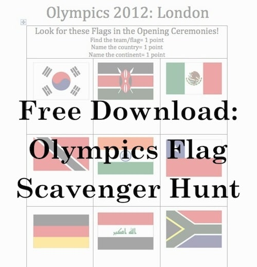 Olympics Flag Scavenger Hunt Opening Ceremonies- Kid World Citizen