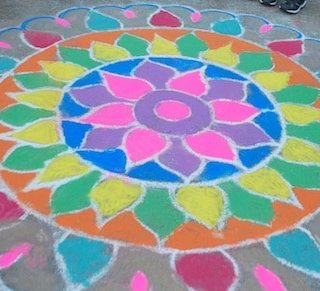 Chalk Rangoli Diwali- Kid World Citizen