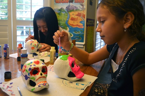 Painting Dia de Muertos Skulls- Kid World Citizen