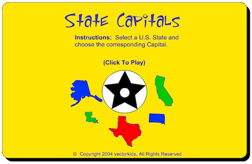 US State Capital Online Game Geography- Kid World CItizen