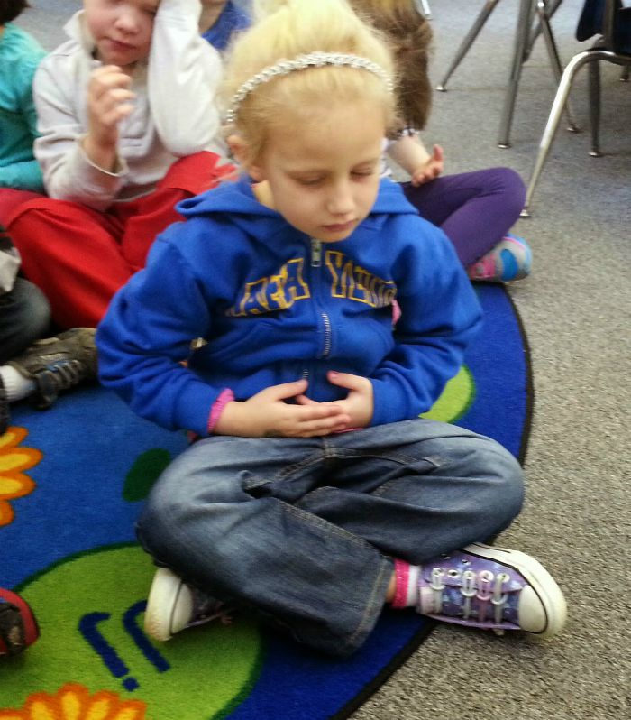 PreK Student Practicing Mindful Breathing- Kid World CItizen