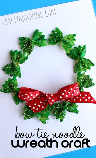 Bow Tie Noodle Christmas Wreath Craft For Kids- Kid World Citizen