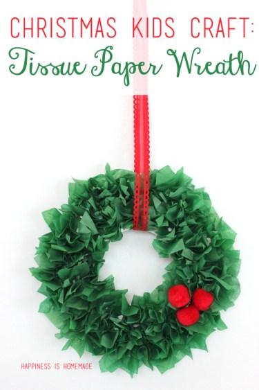 Kids Craft Tissue Paper Christmas Wreath- Kid World Citizen