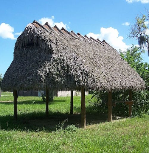 Glades County, Florida. Brighton Seminole Indian Reservation: Chickee hut by Ebyabe