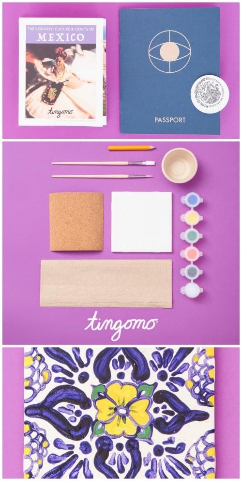 Tingomo Craft kids Mexico Painted Tile Kids- Kid World Citizen