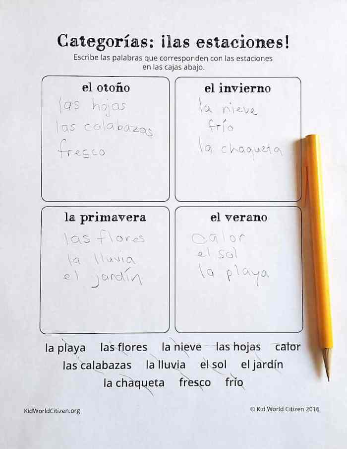 Teach Kids about weather Spanish English Lesson Plan- Kid World CItizen