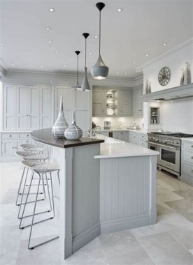 16 Romantic And Welcoming Grey Kitchens For Your Home 10